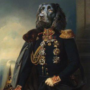Portrait de teckel en officier oeuvre de Daniel Trammer