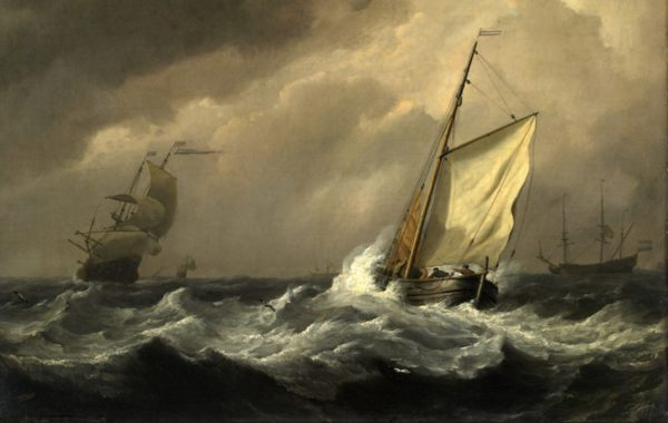 Marine mer agitée en pêche oeuvre de Daniel Trammer