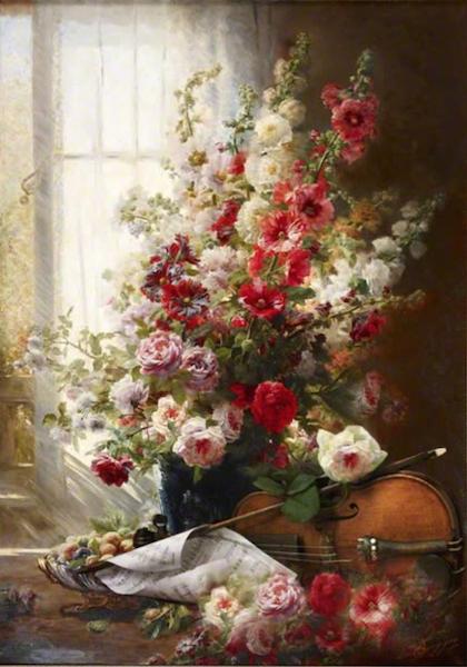 Le Bouquet et violon oeuvre originale de Daniel Trammer