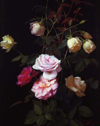 Lumière de roses oeuvre originale de Daniel Trammer