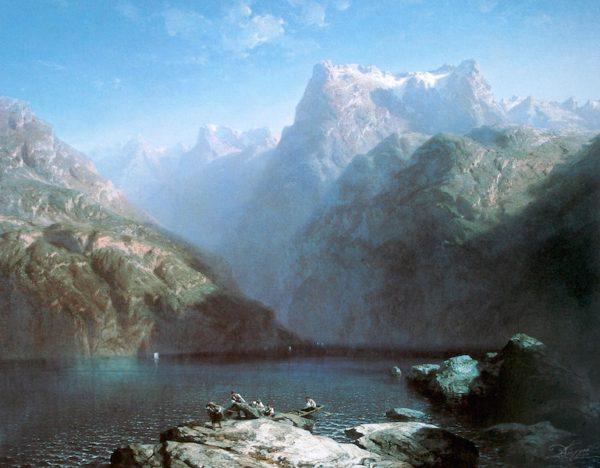 Paysage des Alpes et du lac oeuvre de Daniel Trammer