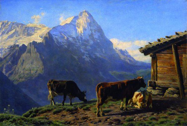 Paysage suisse en alpages oeuvre de Daniel Trammer