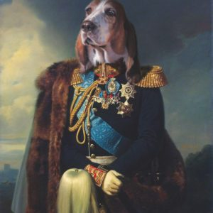 Portrait de chien bassethound en officier