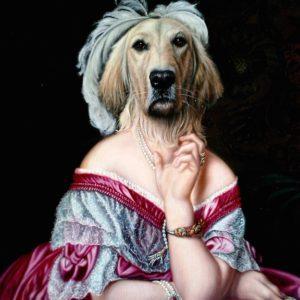 Portrait de Golden retriever en Baronne oeuvre de Daniel Trammer