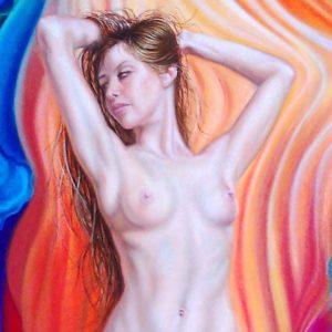 Courbes enflammés 140x100 cm oeuvre originale de Daniel Trammer